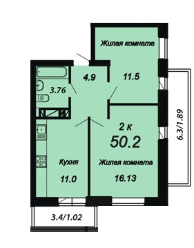 Квартира 2к в новом умном доме Краснодар